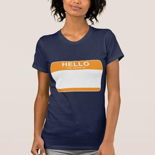 Hola mi nombre es - naranja camisetas