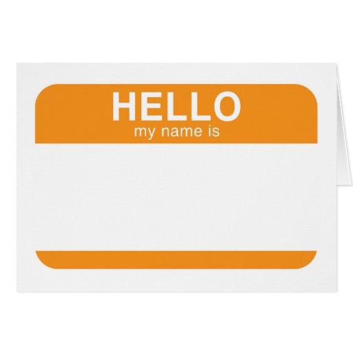 Hola mi nombre es - naranja tarjeta de felicitación