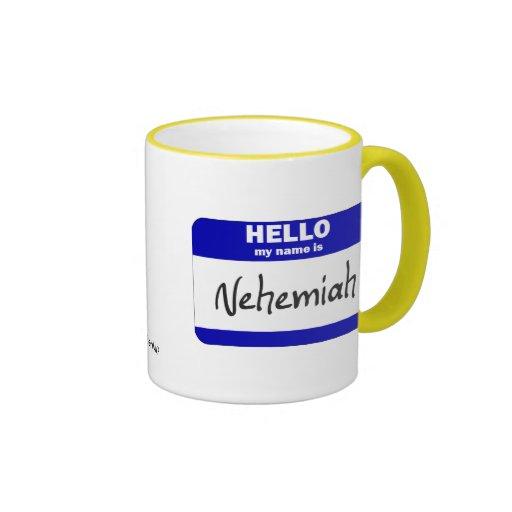 Hola mi nombre es Nehemiah (azul) Tazas