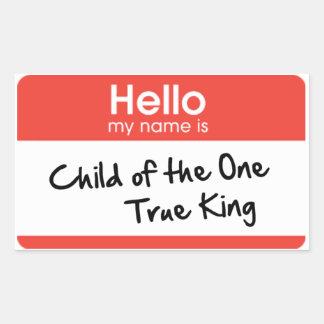 Hola mi nombre es: Niño del un rey verdadero Pegatina Rectangular