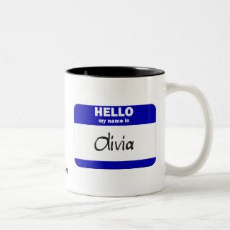 Hola mi nombre es Olivia (azul) Tazas De Café