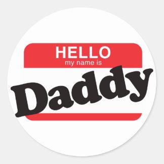 Hola mi nombre es papá etiqueta redonda
