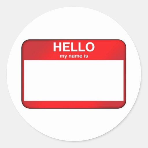Hola mi nombre es… pegatina redonda
