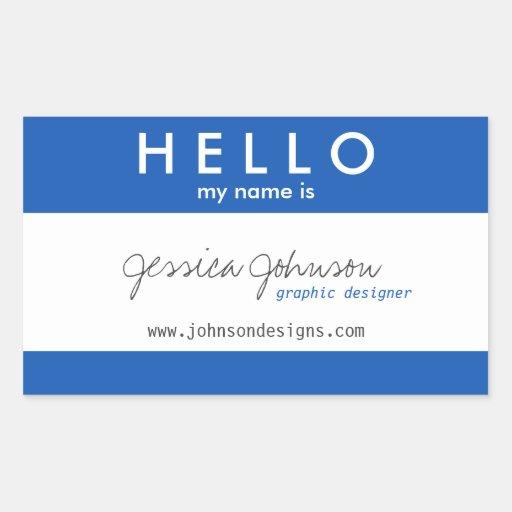 Hola mi nombre es rectangular pegatina