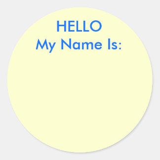 HOLA mi nombre es: Pegatina Redonda