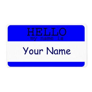 Hola mi nombre es plantilla azul de la etiqueta etiqueta de envío