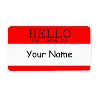 Hola mi nombre es plantilla roja de la etiqueta etiquetas de envío