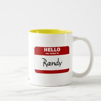 Hola mi nombre es Randy (rojo) Taza Dos Tonos