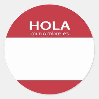 Hola Mi Nombre Es RED spanish hello tag