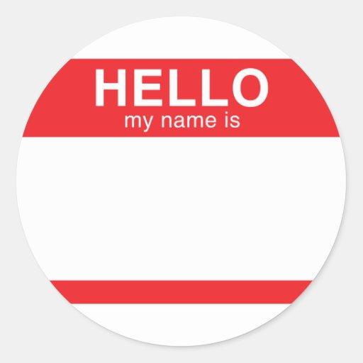 Hola mi nombre es - rojo pegatina redonda