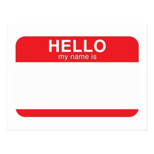 Hola mi nombre es - rojo postales