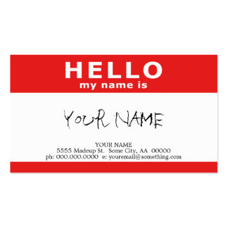 hola mi nombre es: rojo tarjeta de visita