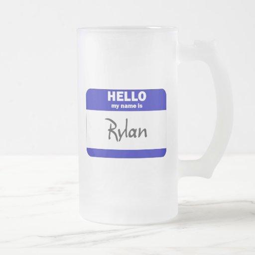 Hola mi nombre es Rylan (azul) Taza Cristal Mate