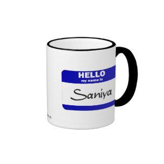 Hola mi nombre es Saniya (azul) Taza De Café