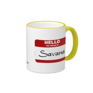 Hola mi nombre es Savana (rojo) Taza De Café