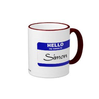 Hola mi nombre es Simon azul Taza De Café
