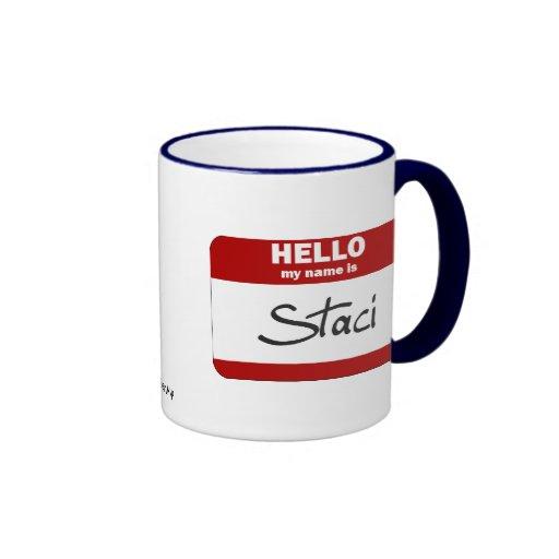 Hola mi nombre es Staci (rojo) Taza A Dos Colores