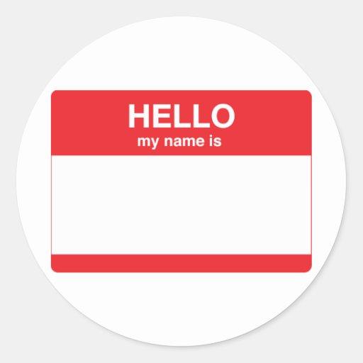 Hola, mi nombre es (su texto) etiqueta redonda