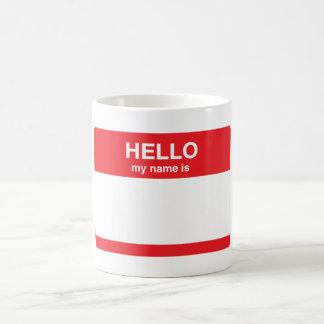 Hola, mi nombre es (su texto) taza básica blanca