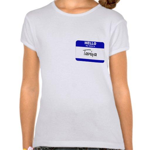 Hola mi nombre es Taniya (azul) Camiseta