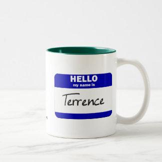 Hola mi nombre es Terrence (azul) Taza De Dos Tonos