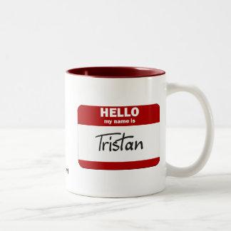 Hola mi nombre es Tristan (rojo) Taza Dos Tonos