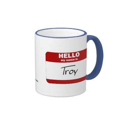 Hola mi nombre es Troy (rojo) Taza A Dos Colores