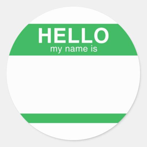 Hola mi nombre es - verde etiquetas redondas
