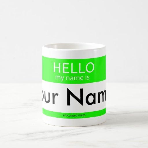 Hola mi nombre es… (Verde) Taza Básica Blanca