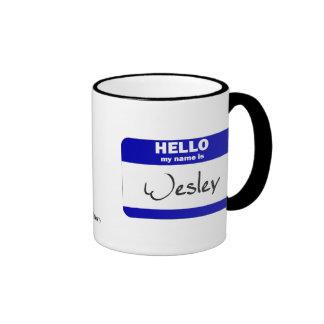 Hola mi nombre es Wesley (azul) Taza De Café