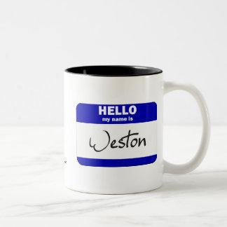 Hola mi nombre es Weston (azul) Taza