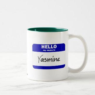 Hola mi nombre es Yasmina (azul) Taza De Café De Dos Colores