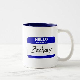 Hola mi nombre es Zacarias (azul) Taza De Café De Dos Colores