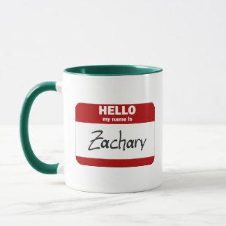 Hola mi nombre es Zacarias (rojo) Taza