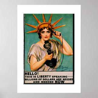 Hola mil millones de discurso de la libertad AHORA Póster