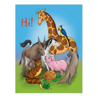 ¡Hola mis amigos! animales adorables del | Tarjeta Postal