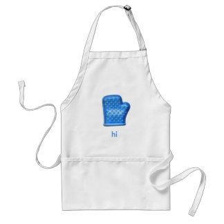 hola mitón azul del horno delantal