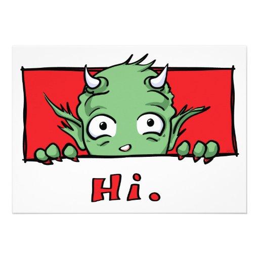 """""""Hola."""" Monstruo - invitaciones"""