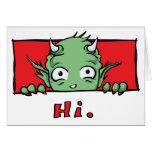 """""""Hola."""" Monstruo - tarjeta de felicitación en blan"""