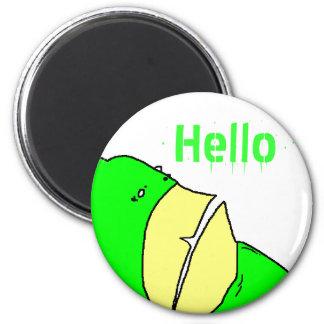 Hola monstruo verde del diente imán redondo 5 cm