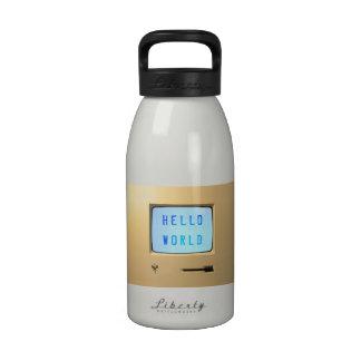 Hola mundo de computadora personal botellas de beber