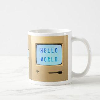 Hola mundo de computadora personal tazas de café