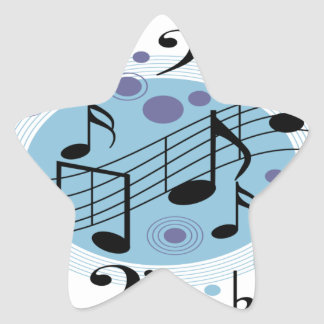 hola música pegatina en forma de estrella