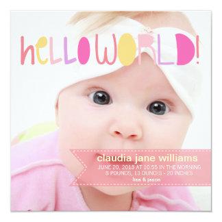 Hola nueva invitación de la niña del mundo