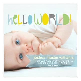 Hola nueva invitación del bebé del mundo