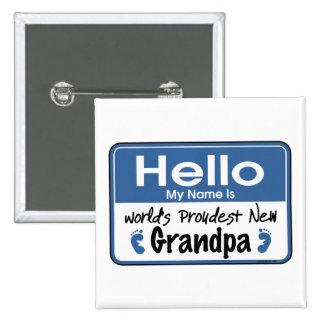 Hola nuevo botón del abuelo pin cuadrado