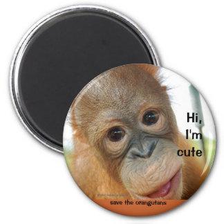 Hola orangután lindo del bebé imán redondo 5 cm