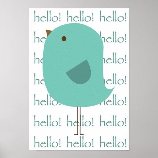 Hola pájaro póster