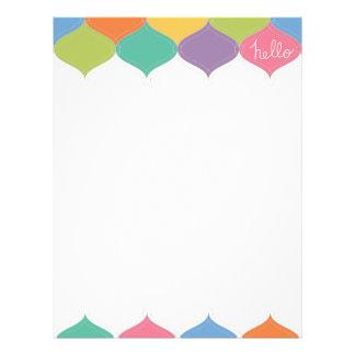 Hola papel con membrete colorido membrete personalizado
