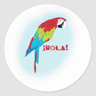 hola parrot classic round sticker